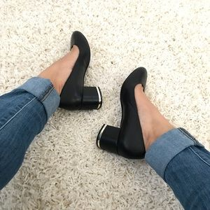 ALDO Round Toe Square Heel Metallic Stripe Heels